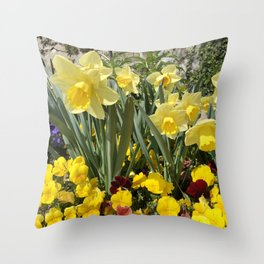 Floral Spring Garden with Daffodils and Pansies Throw Pillow