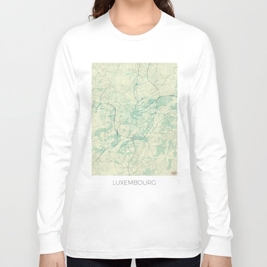Luxembourg Map Blue Vintage Long Sleeve T-shirt