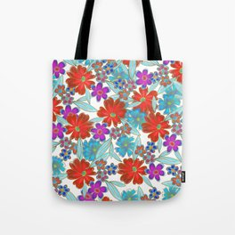 Whimsical Watercolor Teal Purple Red Gold Floral Tote Bag