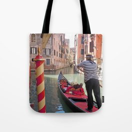 On the Canals in Venice Italy watching the Gondoliers Tote Bag
