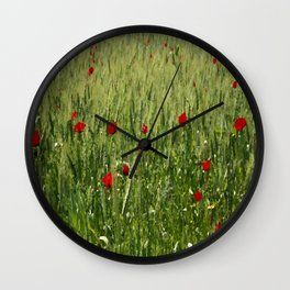 Red Poppies Growing In A Corn Field  Wall Clock