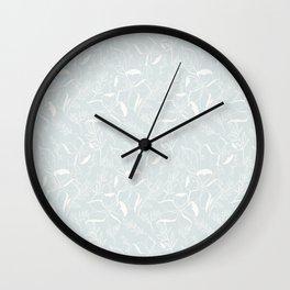 Floral Line Art (Pale Blue)- Pattern Wall Clock