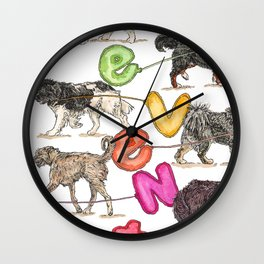 Dogs with Balloons Wall Clock