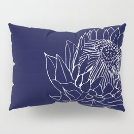 King Protea Outline - Navy and White Pillow Sham