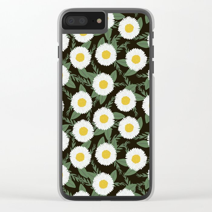 Daisies botanical floral print minimal flowers basic florals pattern charlotte winter dark Clear iPhone Case