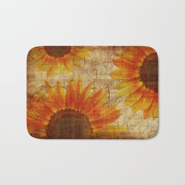 Rustic Sunflowers Yellow Orange Brown Bath Mat