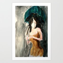 Woman With An Umbrella Art Print