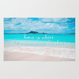 """""""Home is where the ocean meets the shore"""" quote Hawaii turquoise ocean & sandy beach Rug"""