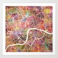 london map Art Prints featuring London map by MapMapMaps.Watercolors