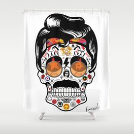SKULL ROCK / Famous Musical Groups - Symbols - Digital Illustration Art - Pop Art - Wall Decor Shower Curtain