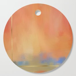 Abstract Landscape With Golden Lines Painting Cutting Board