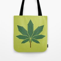 weed Tote Bags featuring weed by rubenmontero