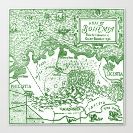 Map of Bohemia (green) Canvas Print