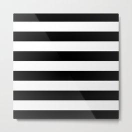 Stripe Black And White Horizontal Line Bold Minimalism Metal Print