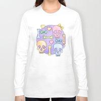 pastel goth Long Sleeve T-shirts featuring Pastel Skulls by Tumbling Tortoises