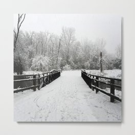 Winter Walk | Over the River Metal Print