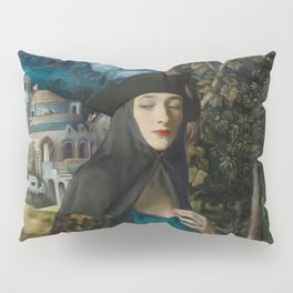 """""""Mystery woman in the forest among flowers"""" Pillow Sham"""