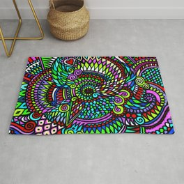 Colourful Bohemian Psychedelic Pattern Rug