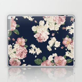 Pink Roses on dark blue pattern Laptop & iPad Skin