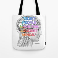 stephen king Tote Bags featuring Quiet People have the Loudest Minds - Stephen King Quote by MY  HOME