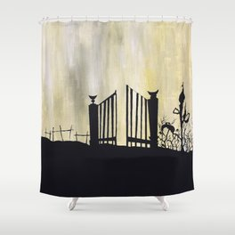 garden illustration venus fly trap haunted house little red riding hood witchy carnivorous Shower Curtain