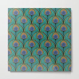 Glitzy Peacock Feathers Metal Print