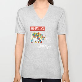 New Friend Rhino Funny Bulldog-Hello Stranger Unisex V-Neck