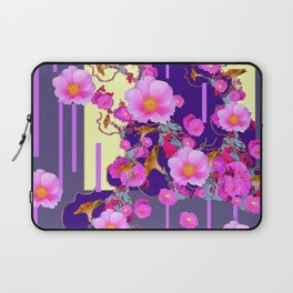 Modern Artwork Pink Wild Roses Purple Grey Design Laptop Sleeve