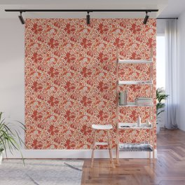 William Morris Iris and Lily, Mandarin Orange Wall Mural
