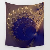 the shining Wall Tapestries featuring Fractal with  shining laces. by Assiyam