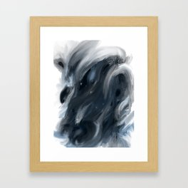 Blue Gray Swirl - abstract painting Framed Art Print