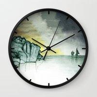 sailing Wall Clocks featuring Sailing by Brontosaurus