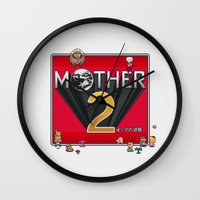 earthbound Wall Clocks featuring Alternative Mother 2 / Earthbound Title Screen by Studio Momo╰༼ ಠ益ಠ ༽