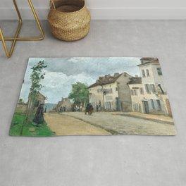 """Camille Pissarro """"Straße in Pontoise (Rue de Gisors)"""" (""""Street in Pontoise"""") Rug"""