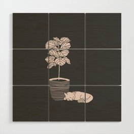 Cat and Plant Wood Wall Art