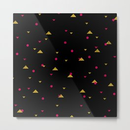 Triangle Explosion - Pink and Gold on Black Metal Print