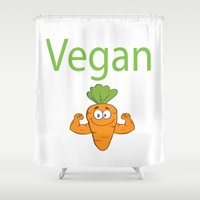 muscle Shower Curtains featuring Vegan and Muscle Carrot by Michael P. Moriarty