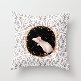 Beautiful nosey Mouse with flower background- Animal - mice - flowers Throw Pillow