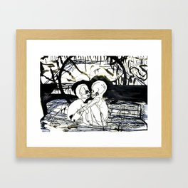 Dock Bench: Flirting with the core's allure  Framed Art Print