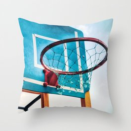 Basket ring blue red Throw Pillow