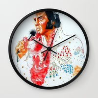 elvis presley Wall Clocks featuring Elvis presley by calibos