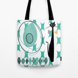 Mid-Century Modern Atomic Art - Teal - Cat Tote Bag