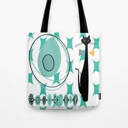 Mid-Century Modern Atomic Art - Teal - Cat Tote Bag