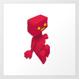 Red Robot Art Print