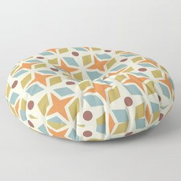 Mid Century Modern Abstract Star Dot Pattern 441 Orange Brown Blue Olive Green Floor Pillow