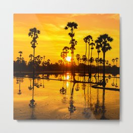 Golden time throw sugar palm trees Metal Print