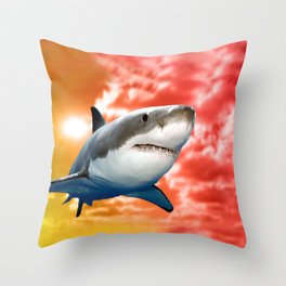 Shark flying in red sky Throw Pillow