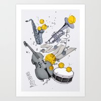 jazz Art Prints featuring Jazz Jazz Jazz by Philipp Zurmöhle