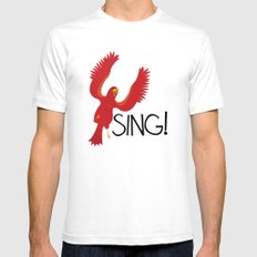 Birds Need to Sing White Mens Fitted Tee SMALL