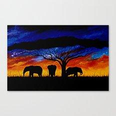 Sunset Elephants Canvas Print